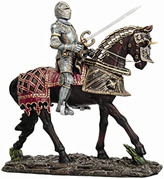 """Honorable Knight Shining Armor Horse Cavalry Charging Sculpture 8/""""H Home Decor"""