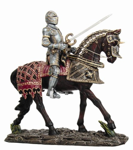 Sword Statue (Large Suit of Armor Medieval Knight On Horse Charging With Long Sword Statue)