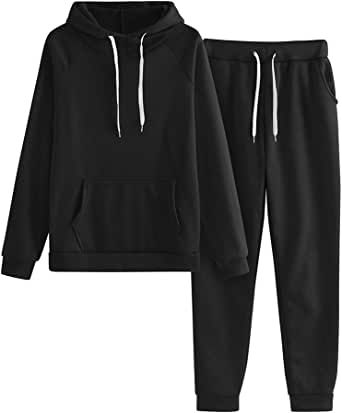 QIUUE 2020 Women Solid Color Hooded Sweatshirt and Pant Tracksuit Sport Suit Pocket Hooded Set (Black, S)