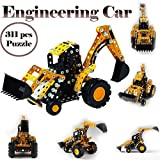 Gbell Boys Engineer Assemble Car Set,311 Pcs 3D Puzzle Kid Toy STEM Education Birthday Gift Toy for Boys 5-12 Years Old (Yellow)