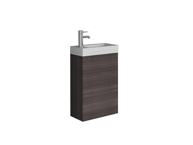 Sam® Mobile con lavabo di 40 cm, arredo Bagno Imitazione Rovere Scuro, Superficie Matta, lavamani di Piccole Dimensioni per Bagno degli Ospiti