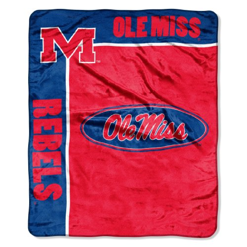 "The Northwest Company Officially Licensed NCAA Mississippi Old Miss Rebels School Spirit Plush Raschel Throw Blanket, 50"" x 60"""