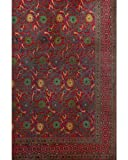 Red Classic Indian Floral Bedspread, Queen Size
