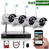 OOSSXX 8-Channel HD 1080P Wireless Network/IP Security Camera System(IP Wireless WIFI NVR Kits),4Pcs 2.0 Megapixel Wireless Indoor/Outdoor IR Bullet IP Cameras,P2P,App, HDMI Cord&1TB HDD Pre-install