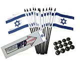 """BOX of 12 Israel 4""""x6"""" Miniature Desk & Table Flags With 12 Flag Stands, 4x6 Israeli Small Mini Stick Flags"""