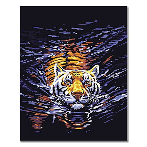 Rihe DIY Oil Paint,Paintworks Paint By Number- Water Tiger 16x20inch (Frameless)