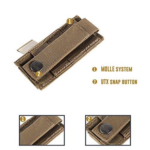 1T MOLLE Taktische Pistole Magazinetasche mit 1/2 Mag Pouch für M1911/92F/GLOCK Schwarz-Single Pistole