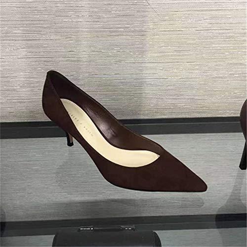 Yukun zapatos de tacón alto Zapatos De Tacón De Aguja De Estilete Salvaje De Moda De Mujer De Tacón Alto Solo Zapatos De Gato De 6 Cm, 38, Negro Coffee