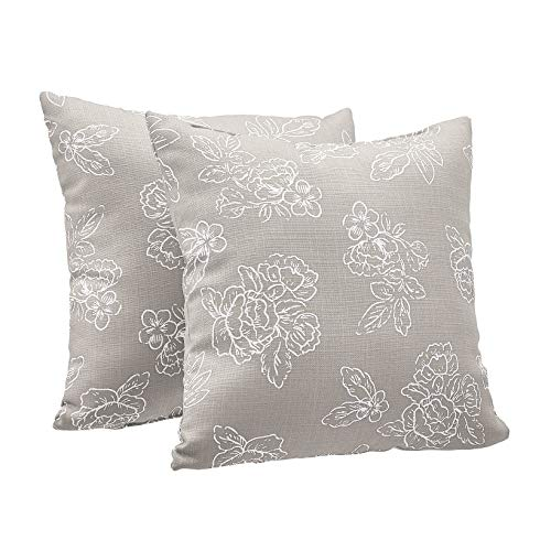 AmazonBasics 2-Pack Linen Style Decorative Throw Pillows – 18″ Square, Taupe Floral