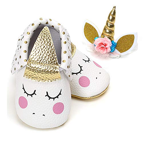 BubbleColor Baby Premium Soft Sole Infant Toddler Prewalker Anti-Slip Party Dress Crib Shoes with Free Baby Headband (L:12-18 Months/5.12