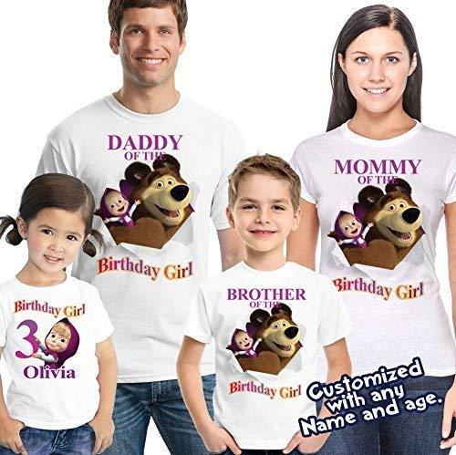 5d578163687fb Masha and Bear Birthday Shirt, Masha and bear Family Birthday Shirts, Masha  birthday shirt, Masha party, Masha and bear party
