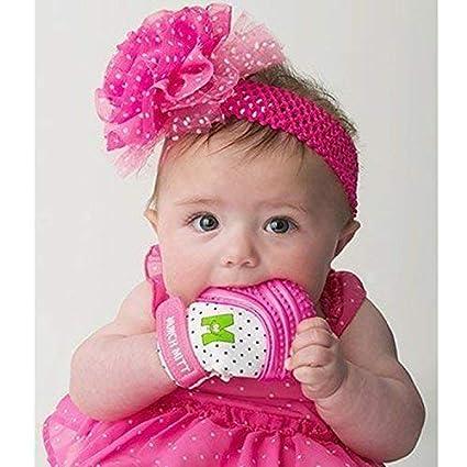 Mouthie Mitten - Muffola a guanto dentizione silicone - diversi colore -  Rosa 4c4e57357f0a