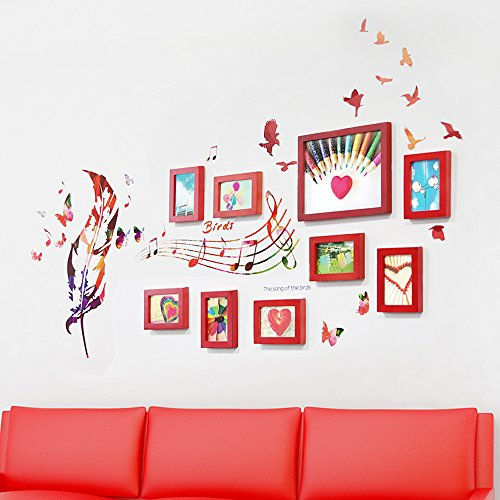 Photo Wall, 9 Frame Combination Frame Frame Wall, Living Room Bedroom Creative Photo Wall ( Color : 1# ) by PM PhotoShop Wall