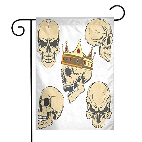 Skull Garden Flag Skulls Different Expressions Evil Face Crowned Death Monster Halloween Print Premium Material W12 x L18 Sand Brown Yellow]()