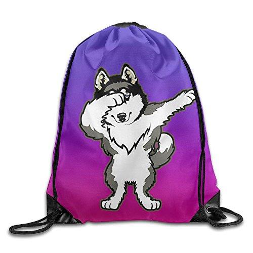 (Hip Hop Dabbing Dab Dance Dog Siberian Husky Purple Drawstring Bag Gym Backpack)