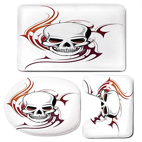 - 3 Piece Bath Mat Rug Set,Tattoo-Decor,Bathroom Non-Slip Floor Mat,Scary-Fierce-and-Wild-Skull-with-Red-Flames-Tribal-Artistic-Tattoo-Image,Pedestal Rug + Lid Toilet Cover + Bath Mat,Red-and-White