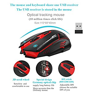 Wireless Keyboard and Mouse Combo Whisper Quiet Keyboard Full Size Multimedia Waterproof Keyboard Mouse for Windows Laptop Notebook PC Desktop Computer
