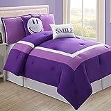 Hotel Juvi 4-Piece Comforter Set, Full, Purple