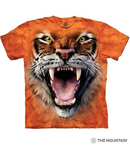 The Mountain Roaring Tiger Face Adult T-Shirt, Orange, Large