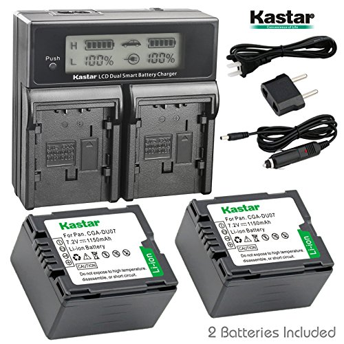 Gs500 Camcorder - Kastar LCD Dual Smart Fast Charger & 2 x Battery for Panasonic CGR-DU07, CGA-DU07and PV-GS31, PV-GS33,PV-GS34, PV-GS35, PV-GS39, PV-GS400, PV-GS500, PV-GS50, PV-GS50S, PV-GS55 Digital Camcorder