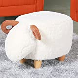Upholstered Ride-on Ottoman Footrest Stool with Vivid Adorable Animal-Like Features, without Storage (Sheep)