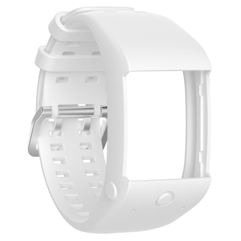 XIHAMA Correa Compatible con Polar M600, Pulsera Silicona Recambio Bracelet Tamaño Ajustable Correa Compatible con Polar M600 (Blanco)