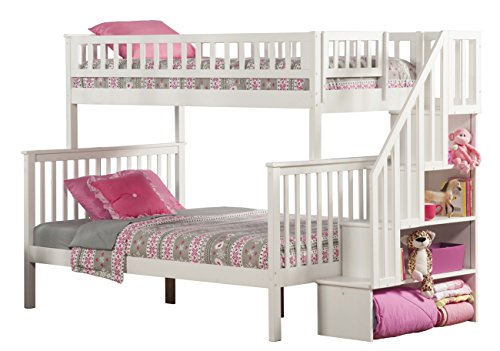 Woodland Staircase Bunk Bed, White, Twin Over Full by Atlantic Furniture