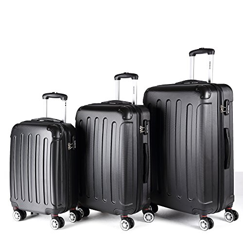 Zwillingsrollen 3 tlg.2045 neu Reisekofferset Koffer Kofferset Trolleys Hartschale in 12 Farben (Schwarz)