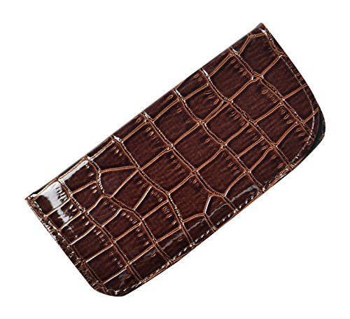 Soft Slip In Eyeglass Case For Women & Men - Glossy Faux Croco Finish in Brown