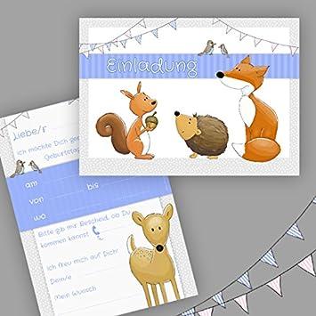 10 Einladungskarten Zum Kindergeburtstag U0026quot;Waldtiereu0026quot; A6 /  Einladung Kindergeburtstag / Wald / Tiere
