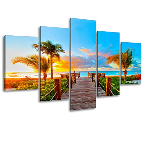 "Tropical Beach Painting Decor, SZ 5 Piece Palm Tree Sunset Picture Canvas Wall Art, Ocean Canvas Prints for Living Room, Ready to Hang, 1"" Deep, Waterproof, Big/large Size"