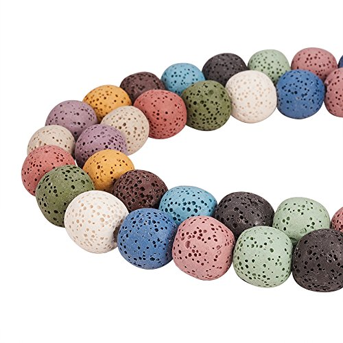 PandaHall Elite 2 Strands 14mm Synthetic Lava Rock Stone Gemstone Beads Round Loose Beads for Jewelry Making Findings Accessories Total About 54-60pcs - Stone 55