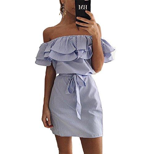 Mujeres Tube Top vestido corto polyster una palabra hombro vestido flojo de la cintura Blue