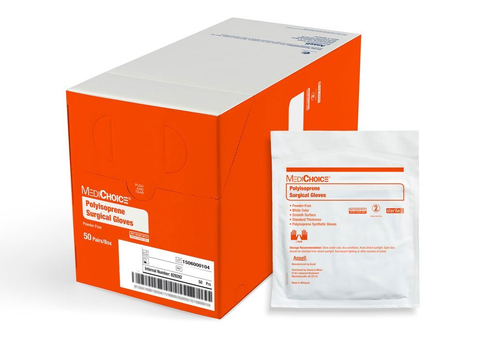 MediChoice Surgical Glove, Powder Free, Sterile, Synthetic Polyisoprene, 5.5, White, 1314SGL95055 (Box of 50)