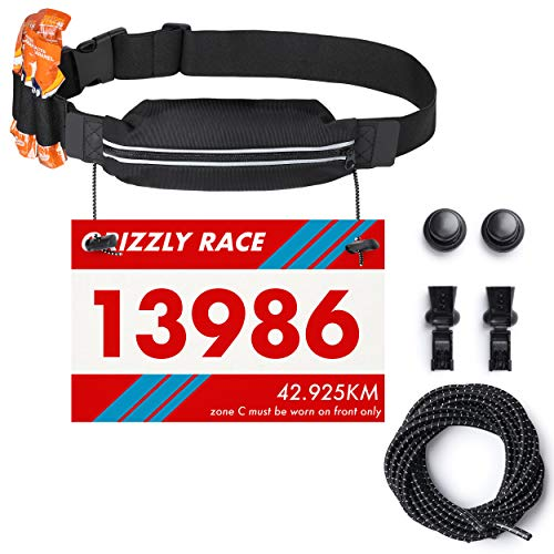 Running Race Number Bib Belt With Elastic Webbing - Fits All Size For Marathon, Triathlon and Cycling - Elastic No Tie Shoe Laces Included (Black Belt + Black - Gel Bib