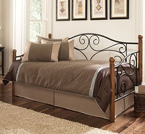 Doral Complete Metal Daybed with Scrolled Spindle Panels and Link Spring, Matte Black Finish, Twin