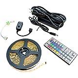 HitLights LED Light Strip Starter Kit - RGB Multicolor SMD 5050 - 16.4 Ft Roll, 44 Key Controller and Power Supply - 150 LEDs, IP-30 - Color Changing LED Tape Light