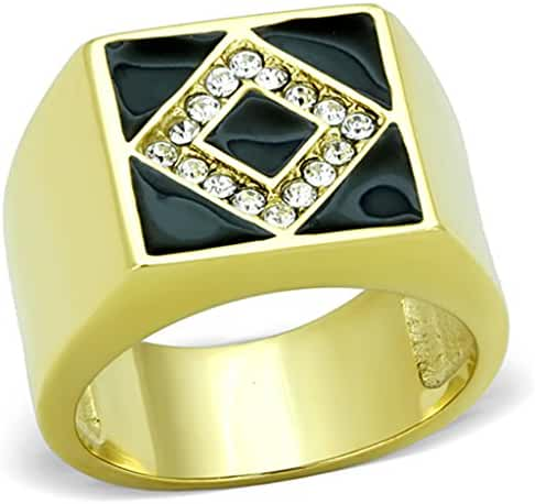 Men's Stainless Steel 316 Crystal And Epoxy 14K Gold Ion Plated Fashion Ring