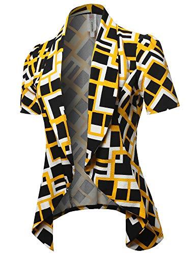 Classic Short Sleeve Blazer Black Yellow 1XL