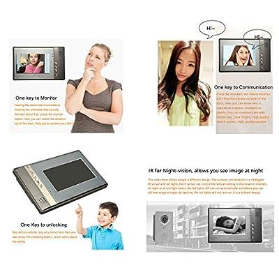 "AMEXCOS 7"" Video Intercom Door phone System, Video Doorbell kit, Wired Video DoorPhone, Night Vision Alloy Camera, Support Unlock, Monitoring, Dual-way Intercom Flush Mounted Outdoor Doorbell"