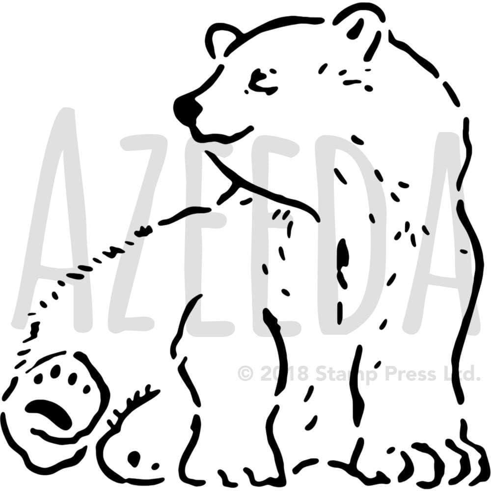 Azeeda Lサイズ A2 '座るポーラーベアズ 壁用ステンシル/テンプレート (WS00017731)