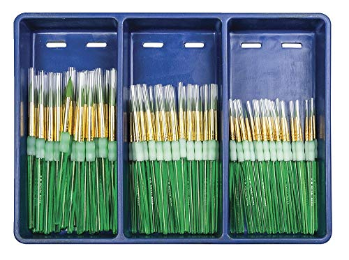 Royal Brush Big Kids Choice Round Brushes with Aprons, Assorted Size, Pack of 72 Brushes and 12 Aprons from ROYAL BRUSH