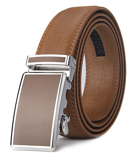 Xhtang Men's Ratchet Belt Automatic Buckle Genuine Brown Leather belt 35mm (Brown Genuine Belt)