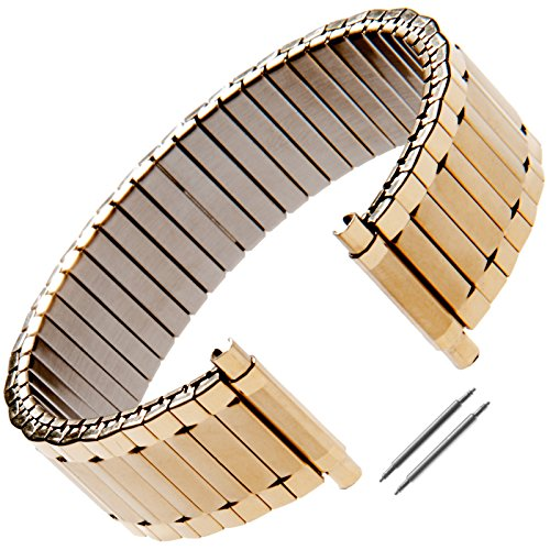 Gilden Unisex Expansion 17-22mm Extra-Long Gold-Plated Stainless Steel Watch Band 532-YL