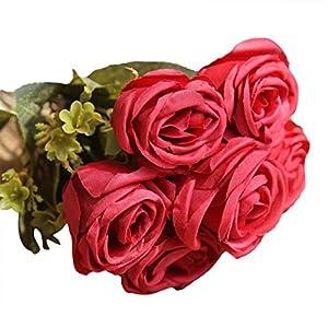 YJYdada Artificial Silk Fake Flowers Roses Floral Wedding Bouquet Bridal Decor 4