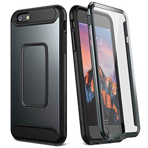 YOUMAKER Case for iPhone 6S Plus, Full Body with Built-in Screen Protector Heavy Duty Protection Shockproof Cover for Apple iPhone 6S Plus (2015) / 6 Plus (2014) 5.5 Inch - Black/Black