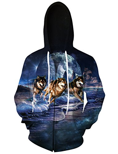 Loveternal Unisex Adult 3d Digital Print Hoodies Three Wolf Moon Graphic Drawstring Pockets Zipper Pullover Hooded Sweatshirt (Moon Adult Sweatshirt)