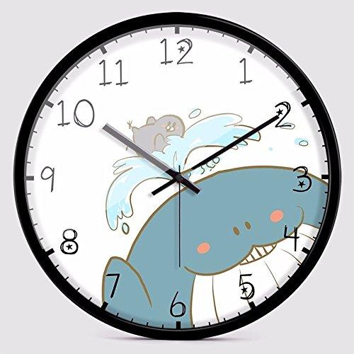 子供のベッドルーム、白のための静かな壁時計 B07DLTN555白