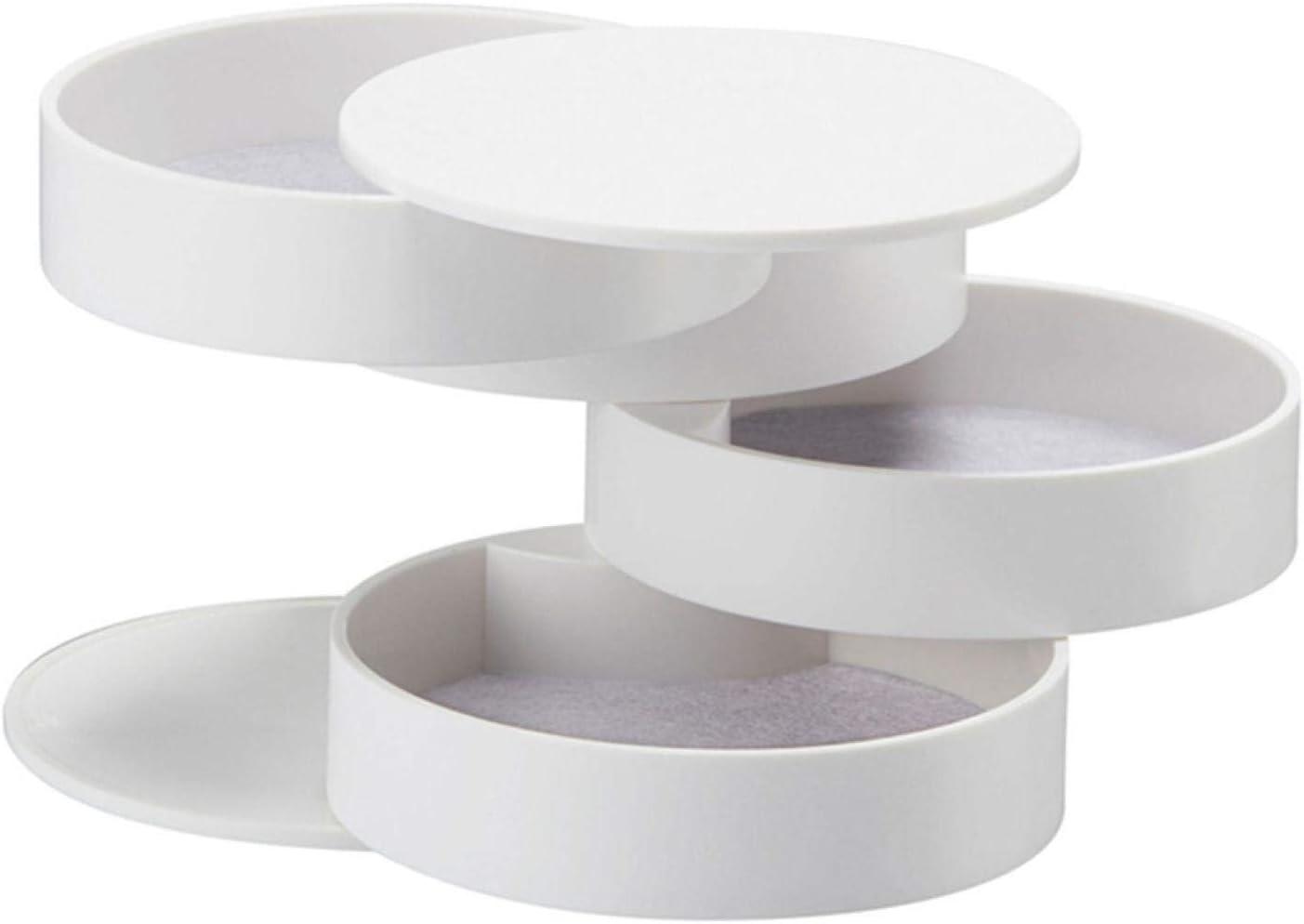 aolongwl Joyero creativo de 4 capas de plástico giratorio contenedor caja pendientes anillo caja multifunción blanco