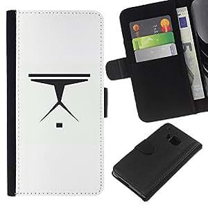 Protector de cuero de la PU de la cubierta del estilo de la carpeta del tirón BY RAYDREAMMM - HTC One M9 - Nave espacial minimalista